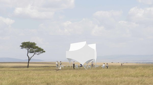 Bettina Pavilion by Michael Maltzan Featuring the fluid white curves often associated with Michael Maltzan's work, the Bettina Pavilion was designed to provide a striking shaded canopy in the great outdoors, whether that's in an open field or on the beach.
