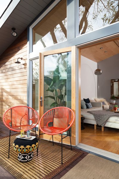 The space is designed for easy indoor-outdoor access.