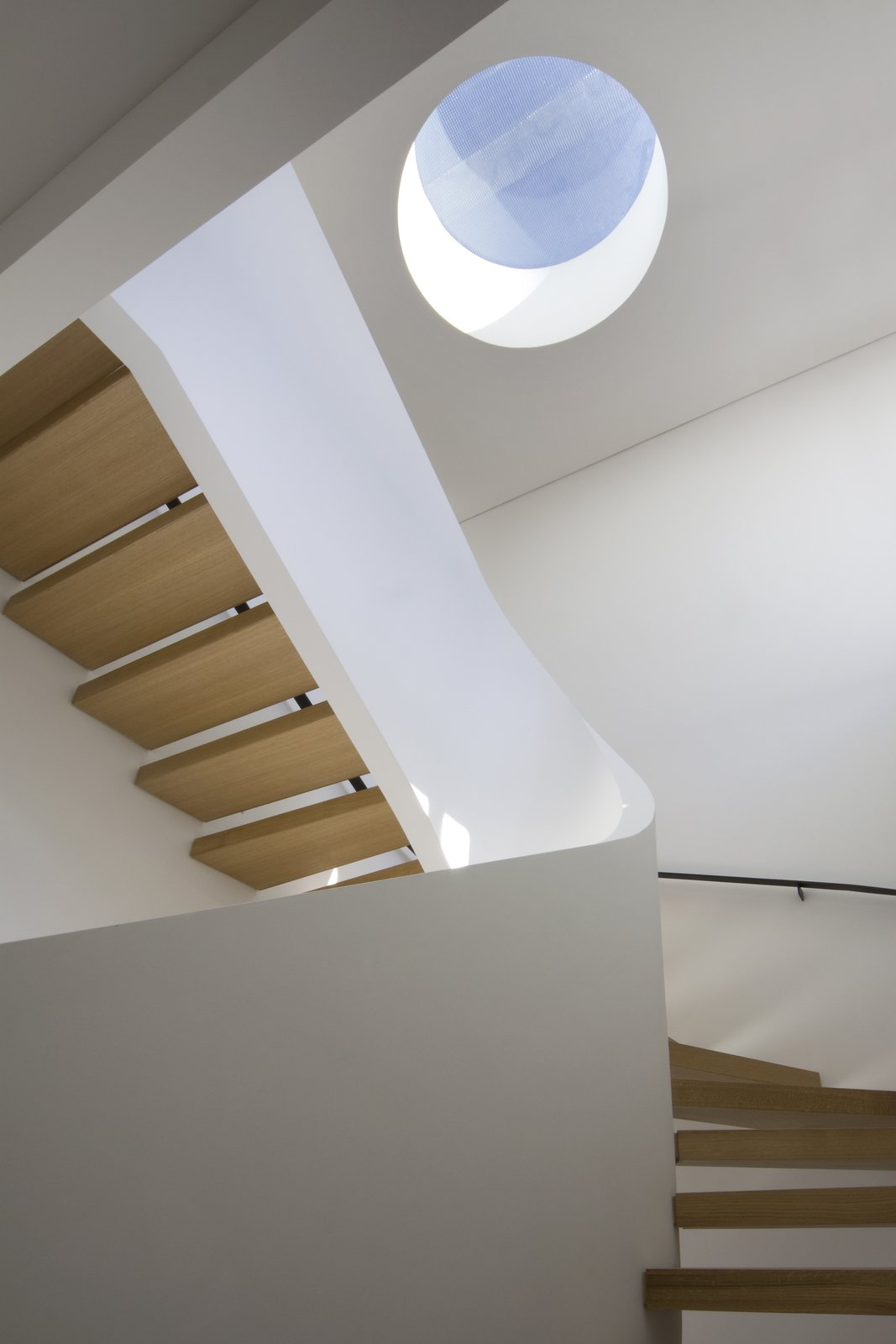 The architects added a small circular skylight to serve as a vertical focal point in the center of the fifth floor. The quarter-sawn white oak risers produce a beautiful rippled grain highlighted by the abundant natural light. Tagged: Skylight Window Type, Staircase, and Wood Tread.  White Oak by Maura Lucking