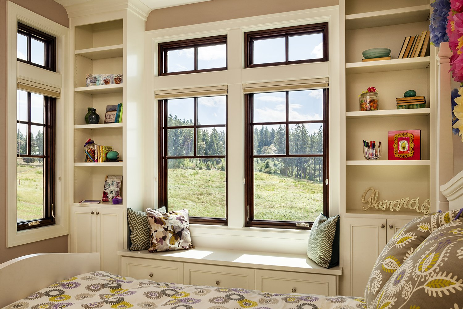 Milgard Essence Series® windows are available in a wide variety of obscure glass patterns, and for spaces that demand serenity, laminated glass is especially proficient at noise attenuation.