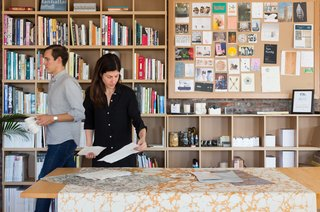 "12 ""Pro-Tips"" For Installing Wallpaper in Your Home - Photo 2 of 13 - ""We draw inspiration from artists like James Turrell or Donald Judd, who understand color and form in an advanced way. Or even Raf Simons. We're definitely pulling inspiration from various mediums,"" Calico co-founder Nick Cope says. Nick and Rachel review materials in their Brooklyn-based studio."