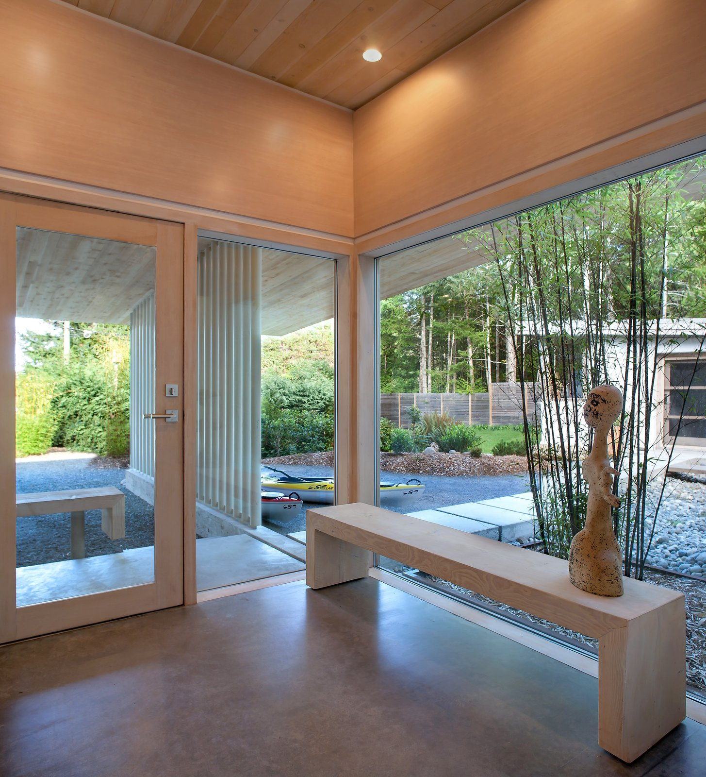 Polished concrete with radiant heating comprise the cabin's interior floors, and its ceilings are made of Douglas fir. Jones designed the custom windows, which were fabricated by contractor Ian Maclean.