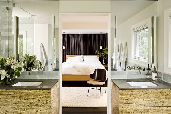 The cabinets in the master bathroom are made of kirei board, a material produced from the stalks of sorghum.