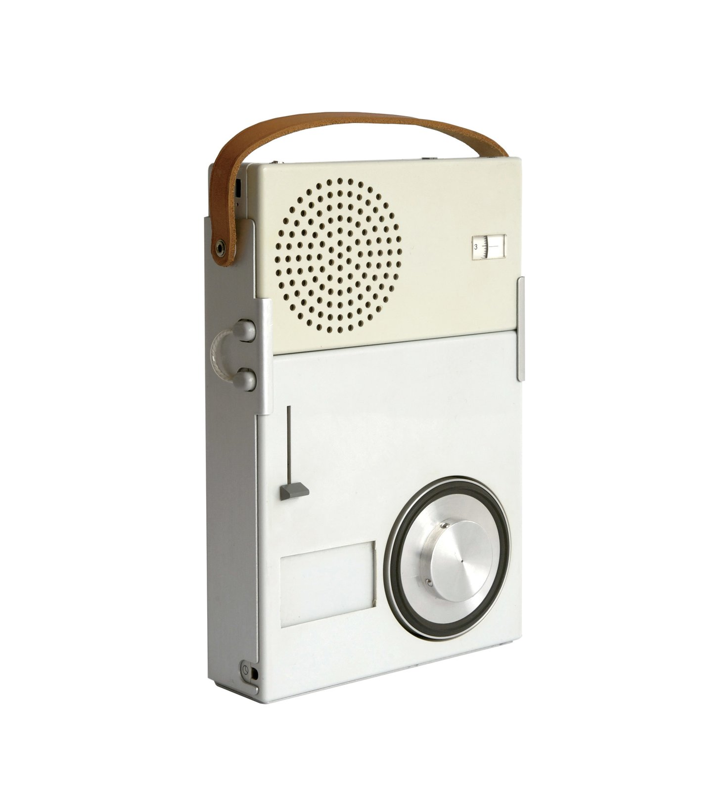 Portable Transistor Radio and Phonograph by Dieter Rams for Braun  With a compact, rectilinear body, Rams's 1959 Functionalist design heralded the now-ubiquitous notion of personal music on-the-go.  Sound Style by Stephen Blake from Designing for the Five Senses: Toolkit for Modern Acoustics