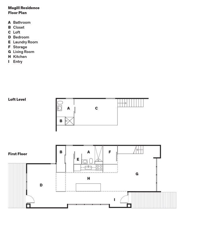Magill Residence Floor Plan  A    Bathroom  B    Closet  C    Loft  D    Bedroom  E    Laundry Room  F    Storage  G    Living Room  H    Kitchen  I    Entry