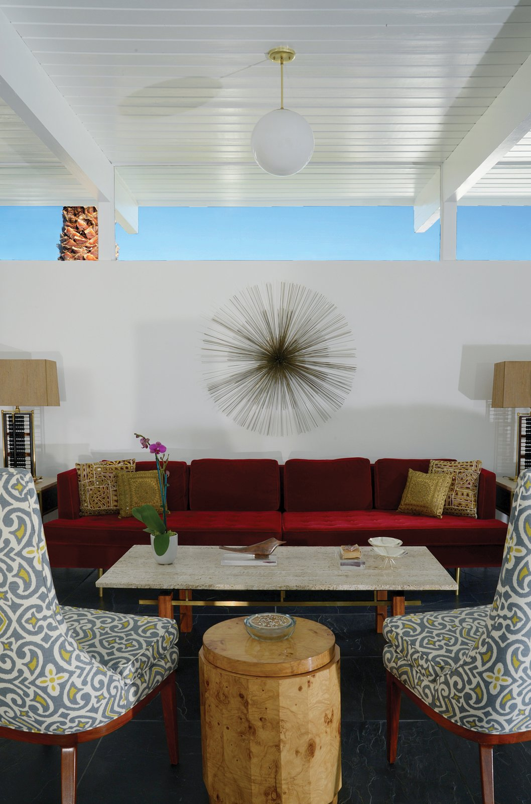 Also in La Casa di Ucello Bianca, sunlight from a clerestory reflects off white ceilings to illuminate richly hued furnishings.  Midcentury Homes by Dwell from A New Book Documents the Rarely-Seen Midcentury Modern Gems of Palm Springs