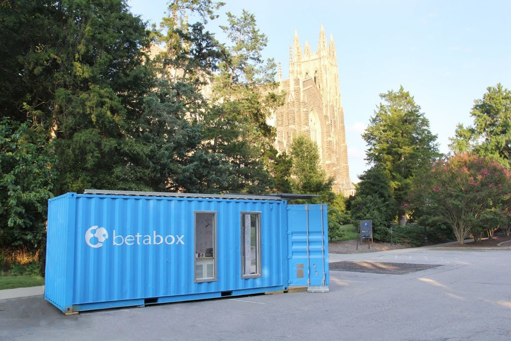 The look of the BetaBox was a collaboration between Nicholas Sailer, BetaVersity's director of creative, who studied industrial design at the College of Design in Raleigh, North Carolina; and Michael Hobgood, an architectural designer and the company's director of operations.  Shipping Containers by Dwell from BetaBox: A Mobile Prototyping Lab in a Shipping Container