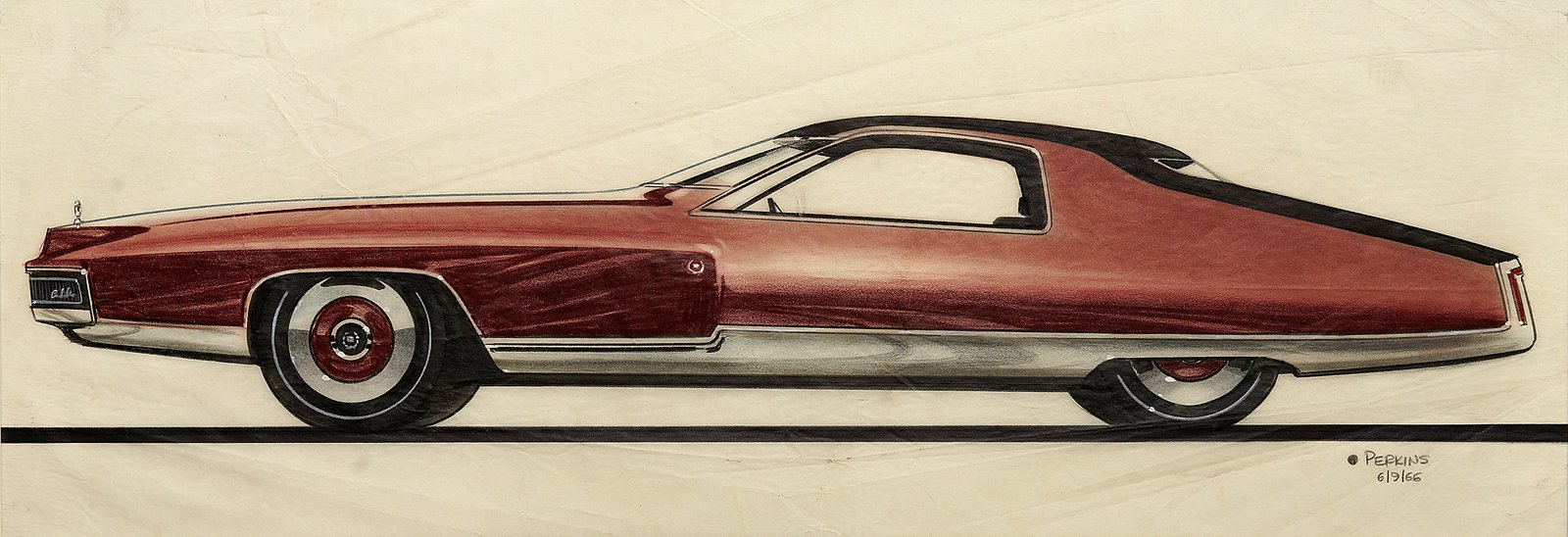 John Perkins, Design for Cadillac, 1966.  Photo 1 of 7 in When the Future Had Fins: Fantastical Vintage Auto Drawings