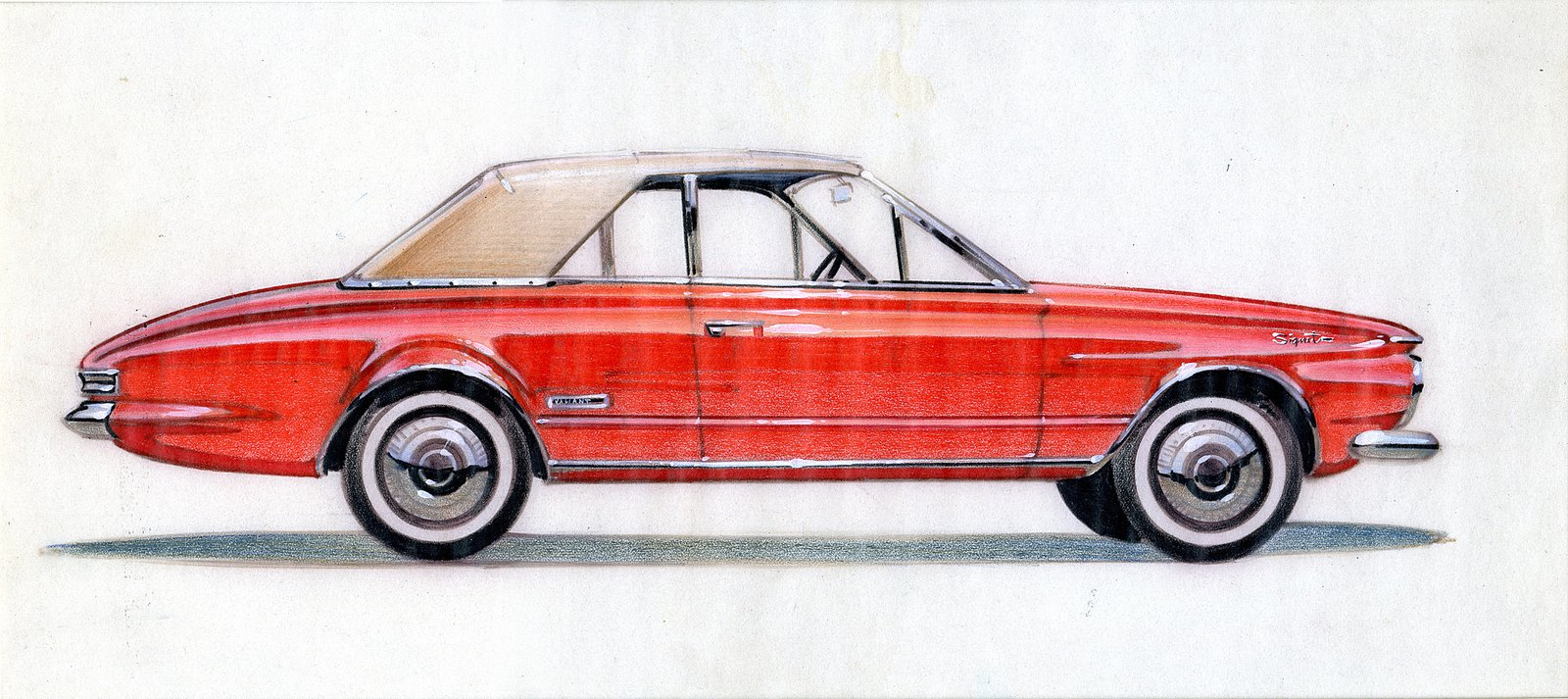 Dave Cummings, Design for a Plymouth Valiant, 1963.  Photo 6 of 7 in When the Future Had Fins: Fantastical Vintage Auto Drawings