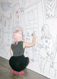 13 of the Biggest Hits from Dwell on Design Los Angeles 2015 - Photo 11 of 13 - A visitor works on IdeaPaint's dry-erase coloring wall.