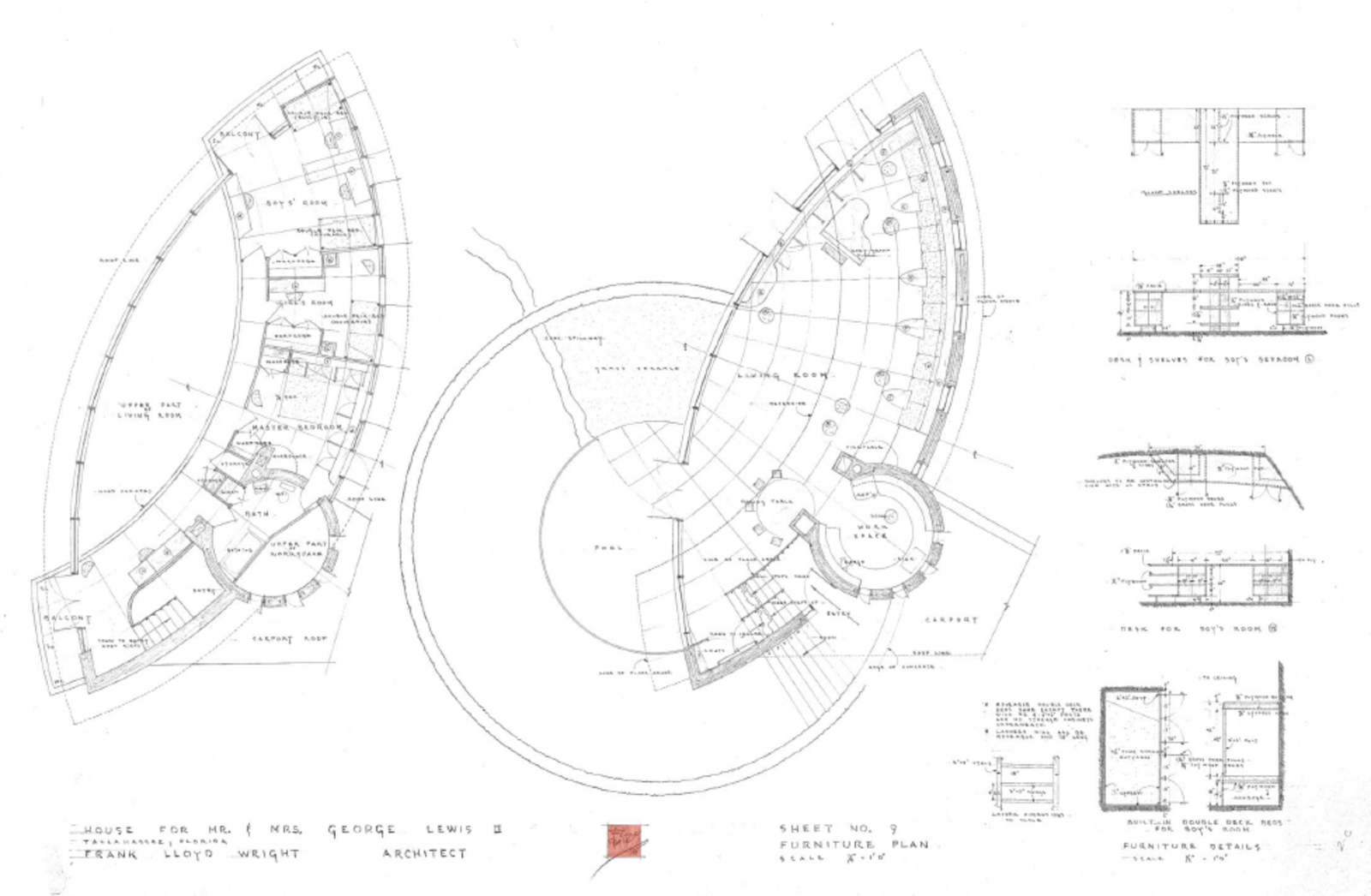 The floor plan for the Spring House. Frank Lloyd Wright's Endangered Spring House  by Allie Weiss