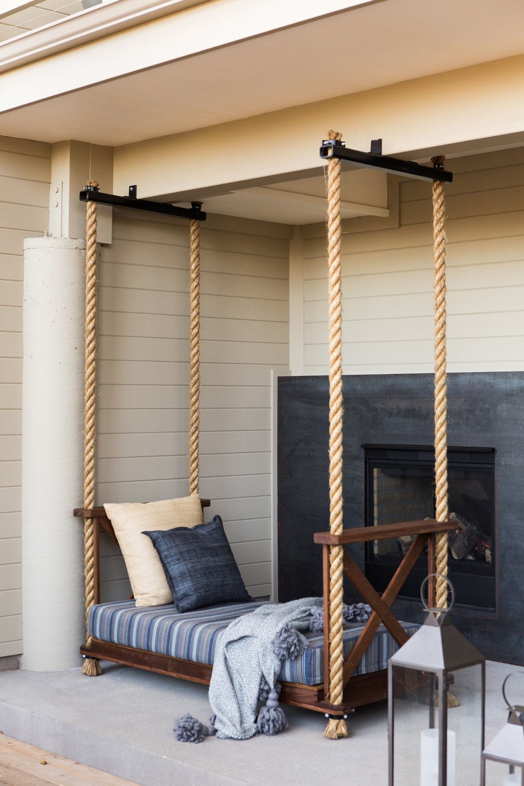 "Hollis designed the custom outdoor bed, which is suspended by ropes. ""We hope that visitors come away relaxed and refreshed and have the feeling they had the one-of-kind experience of the valley,"" she says."