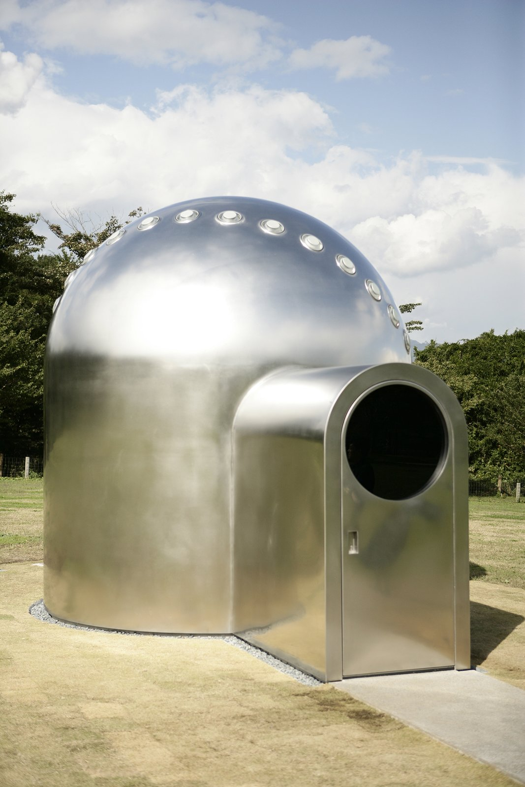 """""""Sunspace for Shibukawa,"""" Olafur Eliasson, 2009.  This stainless steel observatory, stationed in Shibukawa, Japan, contains a number of glass oculi that capture the movement of light throughout the day, creating varying projections in the interior.  Eight of Our Favorite Works by Artist Olafur Eliasson by Allie Weiss"""