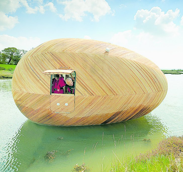 Exbury Egg, PAD Studio and Stephen Turner, 2013  Constructed with traditional yacht-building techniques, this 20-foot-long floating oval on an inlet in southern England functions as a self-sufficient studio and home for artist Stephen Turner. His work, which is inspired by water, relies on data he collects here on the rising and ebbing tides.  Independence and Mobility by Chris Deam from Seriously Tiny (and Slightly Strange) Hangouts That Push the Limits of Micro-Living