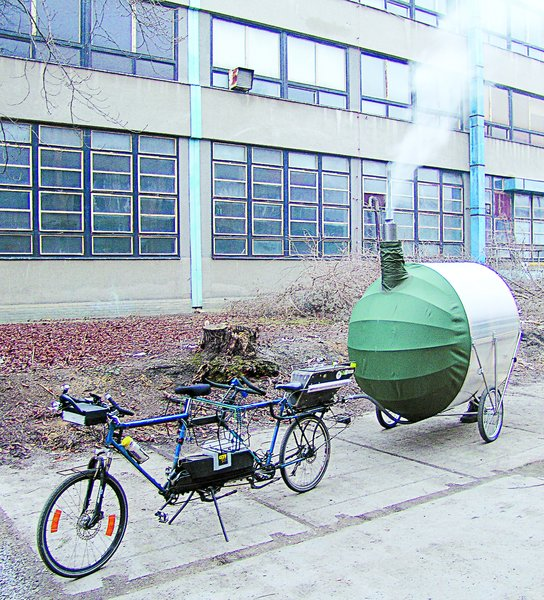 Bicycle Sauna, H3T Architects, 2011  Equipped with the necessary hookups to tow behind a tandem bike, this richshaw-like contraption is a sauna that, amazingly, can fit six. Heat is generated by an internal fireplace and trapped by the polycarbonate hood.  Independence and Mobility by Chris Deam from Seriously Tiny (and Slightly Strange) Hangouts That Push the Limits of Micro-Living