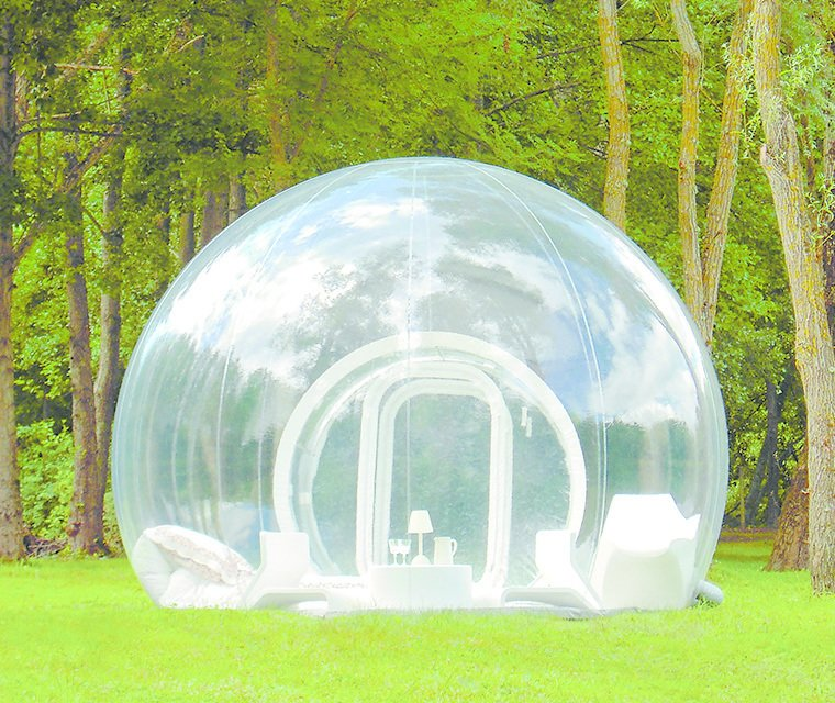 Cristal Bubble, by Pierre Stéphane Dumas, 2014  This plastic-wrapped hotel room debuted in France, yet its inflatable design lets travelers sleep under the stars anywhere they please (anywhere secluded enough for see-through walls, that is). The spheres are available to rent in several Western European countries.
