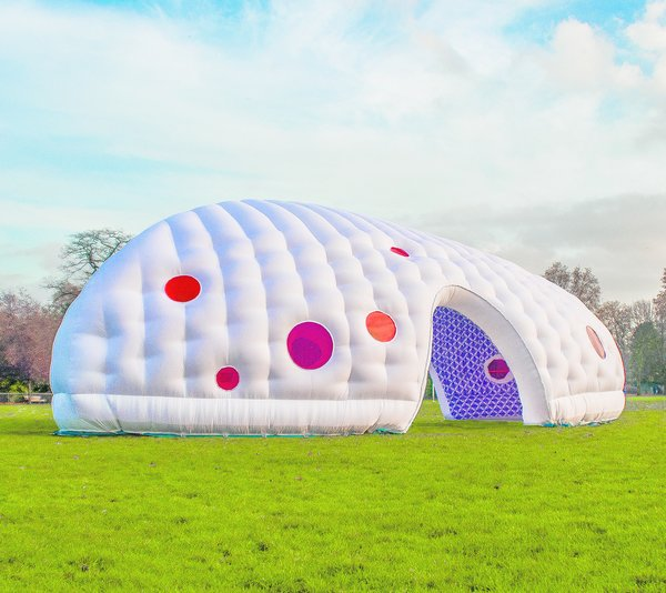 Inflatable Space, Penttinen Schöne, 2010  Commissioned as an interactive arts project in Essex, England, this swollen, whimsical structure is now used as a kid-friendly pavilion for a housing estate.