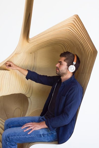 Inside the Headspace Meditation Pod, a discreet built-in screen leads practitioners through the company's library of guided meditations via headphones. Its organic forms provide a comfortable position for repose.