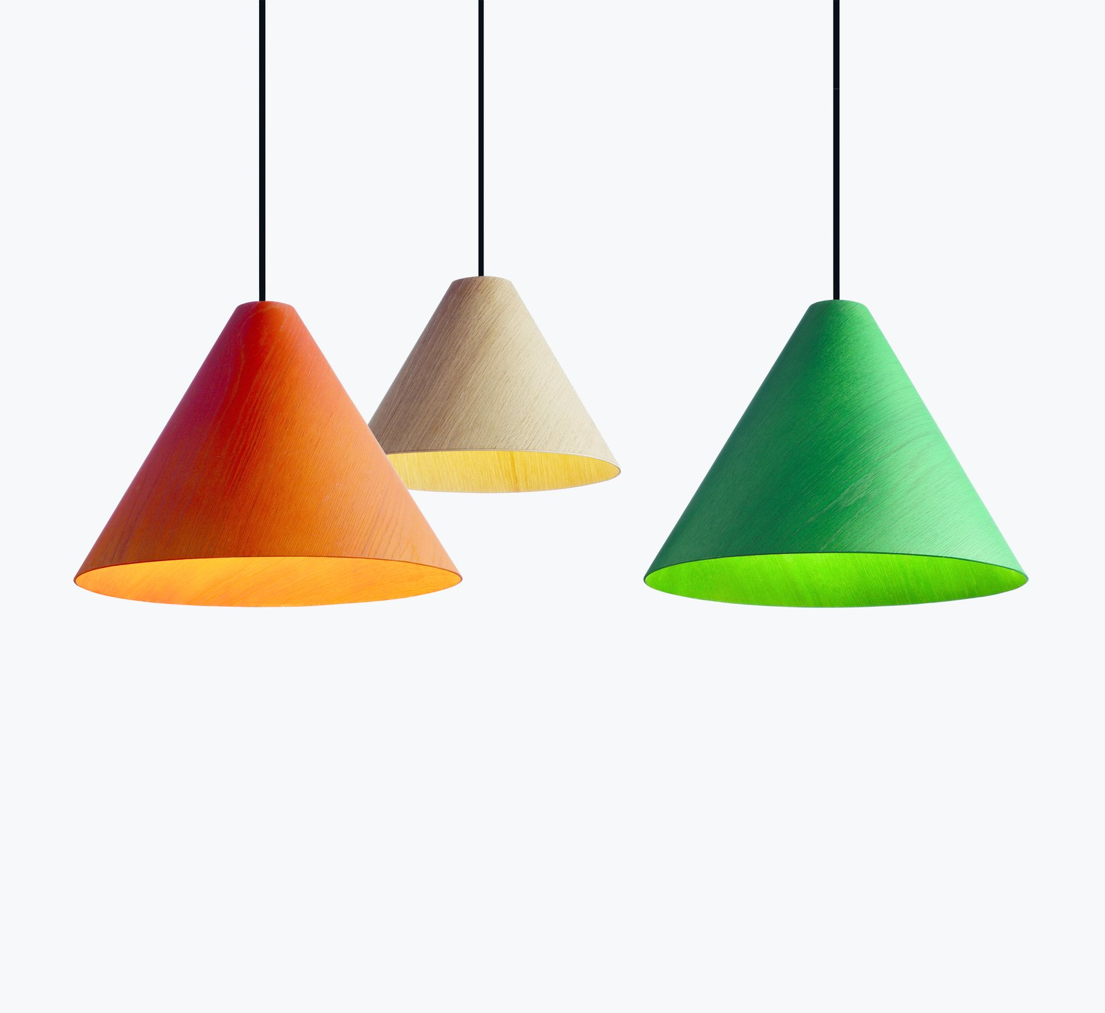 Milan saw the launch of wrong.london, an offshoot of HAY that's run by creative director Sebastian Wrong. The lighting-focused division released these veneered-oak lampshades, dubbed 30degree, among other designs.