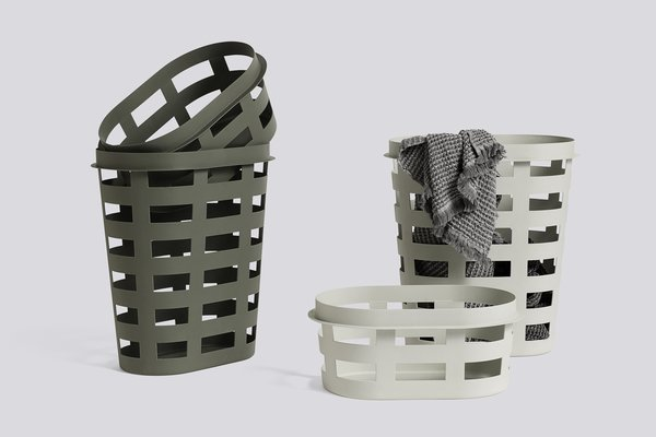Big-Game designed these plastic mesh laundry baskets for the company.