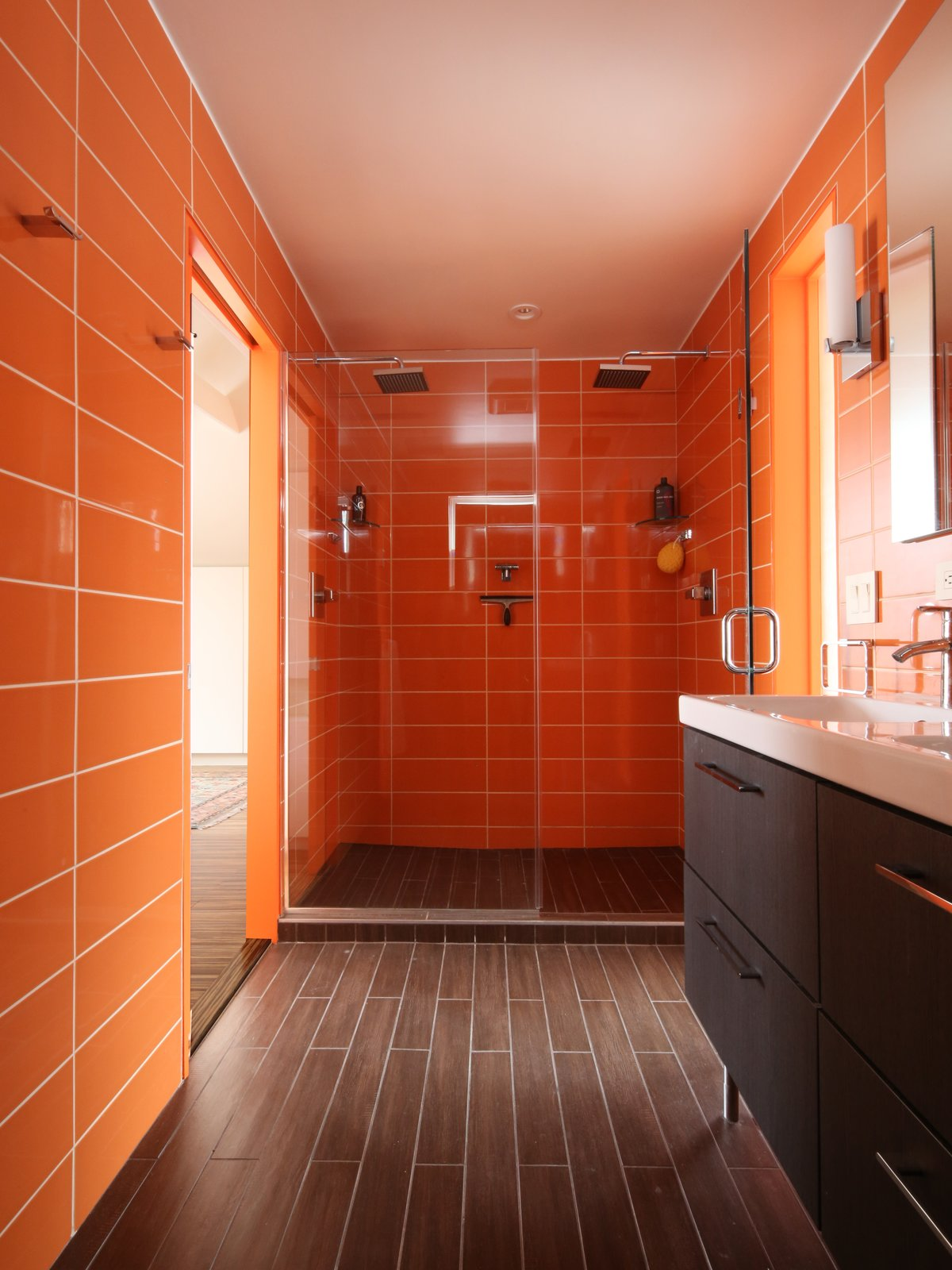 #bath #spa #bath&spa #modern #interior #interiordesign #color #shower #renovation #walltile #rainbowazul #citruscolor #clad #ceramicplank #ikea  Tagged: Bath Room, Ceramic Tile Wall, Full Shower, Ceramic Tile Floor, and Enclosed Shower.  Photo 4 of 22 in Bath & Spa Intrigue