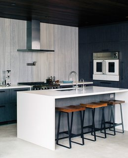 Wouldn't You Like to Have Your Own Private Concerts at Home? - Photo 5 of 10 - In the kitchen, Walker continued an earthy color scheme. The range and wall oven are by BlueStar, the hood is from Zephyr, and the island is Caesarstone.