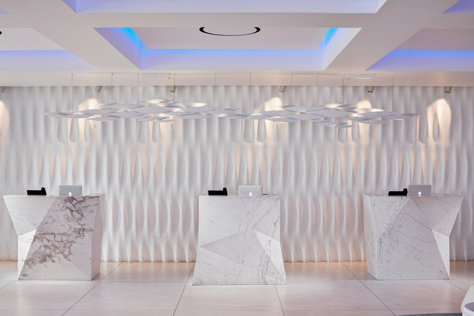 When you proceed to check in, you'll see that Mahmoud had large blocks of marble carved into sharp geometric shapes to contrast against the more classic, softer lines.