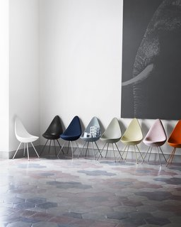 Jaime Hayon is Given the Keys to an Iconic Copenhagen Hotel - Photo 9 of 9 - After being out of commission for more than 50 years, the Drop chair is now fully back in production and available in a wide range of color and upholstery options—a number of the various choices are shown here.