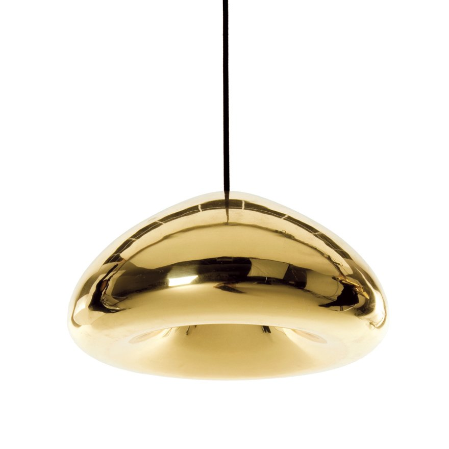#lighting #gold #futuristic #hanging #fixture  Designed by Tom Dixon