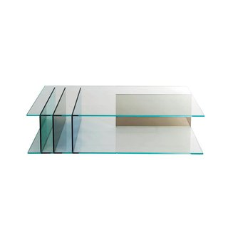 Coffee Tables That Would Make Yves Klein Proud - Photo 2 of 6 - Server cocktail table by Roberto Tapinassi and Maurizio Manzoni for Roche Bobois  Green, bronze, and dark blue panels support the two clear panes of this all-glass piece.