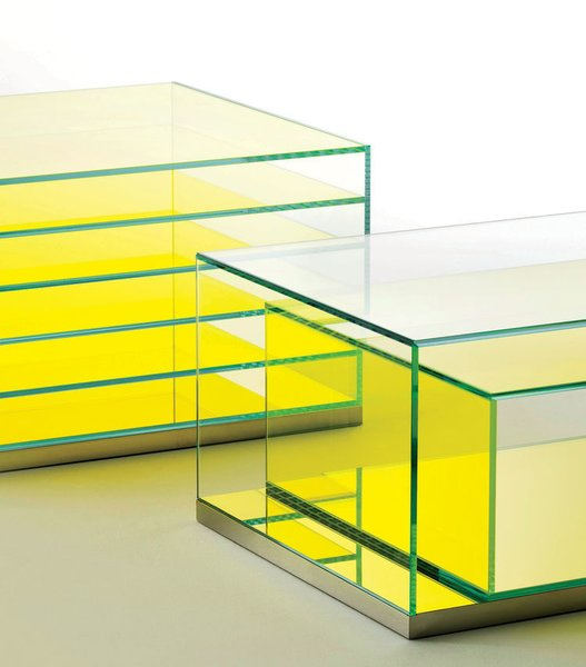 Coffee Tables That Would Make Yves Klein Proud - Photo 4 of 6 - Boxinbox by Philippe Starck for Glas Italia  This brightly tinted series combines storage and display in rectilinear showcases that recall artist Donald Judd's work.