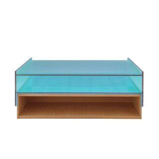 Coffee Tables That Would Make Yves Klein Proud - Photo 5 of 6 - Hampton low table by Eric Jourdan for Ligne Roset  Referencing Mies van der Rohe's Farnsworth House, this architectural piece marries cherrywood and laminated glass.