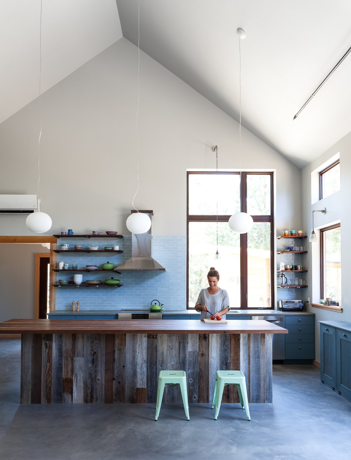#open #kitchen #northern #california #highceilings #tile #wood #concrete  Photo by Kat Alves   Kitchen by Lara Deam from Kitchens