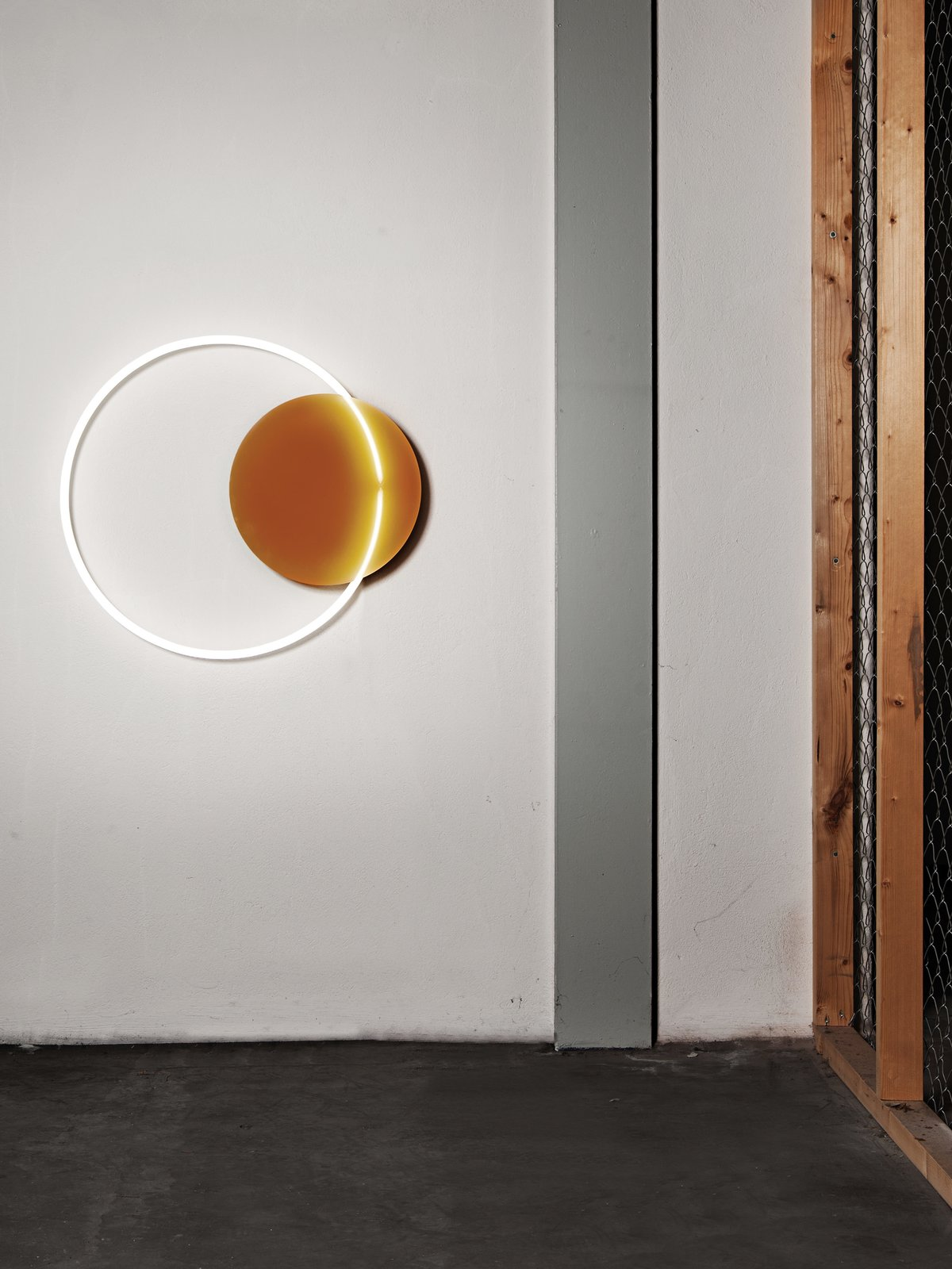 A lighting piece from Sabine Marcelis's VOIE light series #1, made from neon and cast polyester resin.