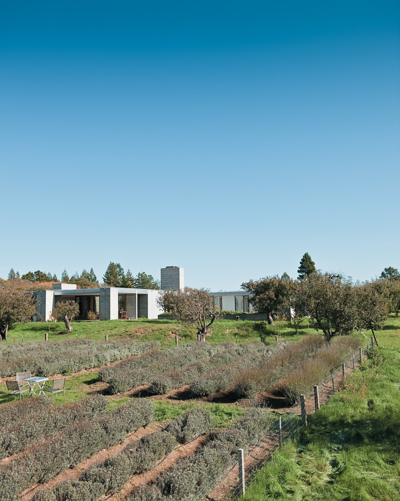 The Hupert-Kinmont house lies low in a century-old apple orchard, far from neighboring houses. The spaciousness of the rural surroundings is echoed inside. Tagged: Outdoor, Gardens, Shrubs, Trees, and Field.  Photo 2 of 18 in A Sonoma Prefab That Celebrates a Family's Passion for Cooking