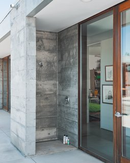 A Sonoma Prefab That Celebrates a Family's Passion for Cooking - Photo 7 of 17 - An outdoor shower is made from one complete concrete module—a visual demonstration of how the entire house was built.