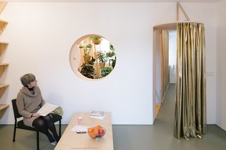 A Quirky Renovation Brings an Indoor Garden to the Center of Madrid - Photo 3 of 6 - A cutout oculus in the living room offers a peek into the plant-filled bath, while a curtain can be drawn to control airflow.