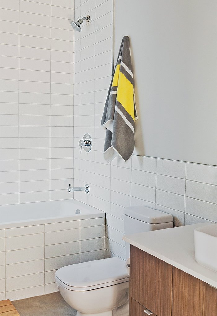 Duravit's D-Code fixtures outfit the bathroom.