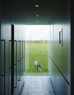 A Kubrick-Esque Farmhouse Kicks Its Fossil Fuel Habit - Photo 8 of 10 - Discreet kitchen storage, which conceals the refrigerator, a wine cooler, the freezer, recycling, and cleaning materials, complements a view of one of the family's five horses.