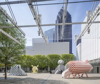Jaime Hayon designed four wooden sculptures that will adorn the High Museum of Art's outdoor plaza through November 27.