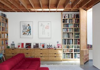 When Libby May and Eoghan Mahony purchased a 1950s post-and-beam house in Los Angeles' Santa Monica Canyon, they envisioned someday transforming the garage and adjoining workshop into livable space, with an office for each of them and a family room they could share with their sons, Wes, 14, and Duncan, 10.