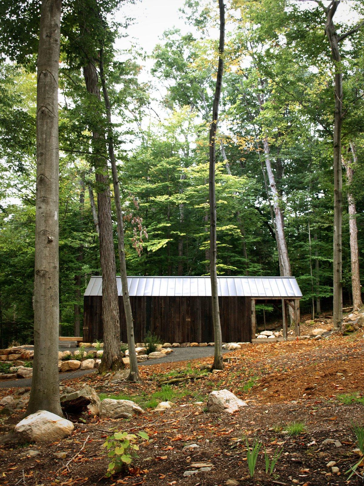 #outdoor #garden #interior #exterior #tree #wood #forest #bigwinisland #bunkieyogastudio #yoga #aluminumroof #roof #woodcladding #cladding  Photo courtesy of Jorge Torres  Cabins & Hideouts by Stephen Blake