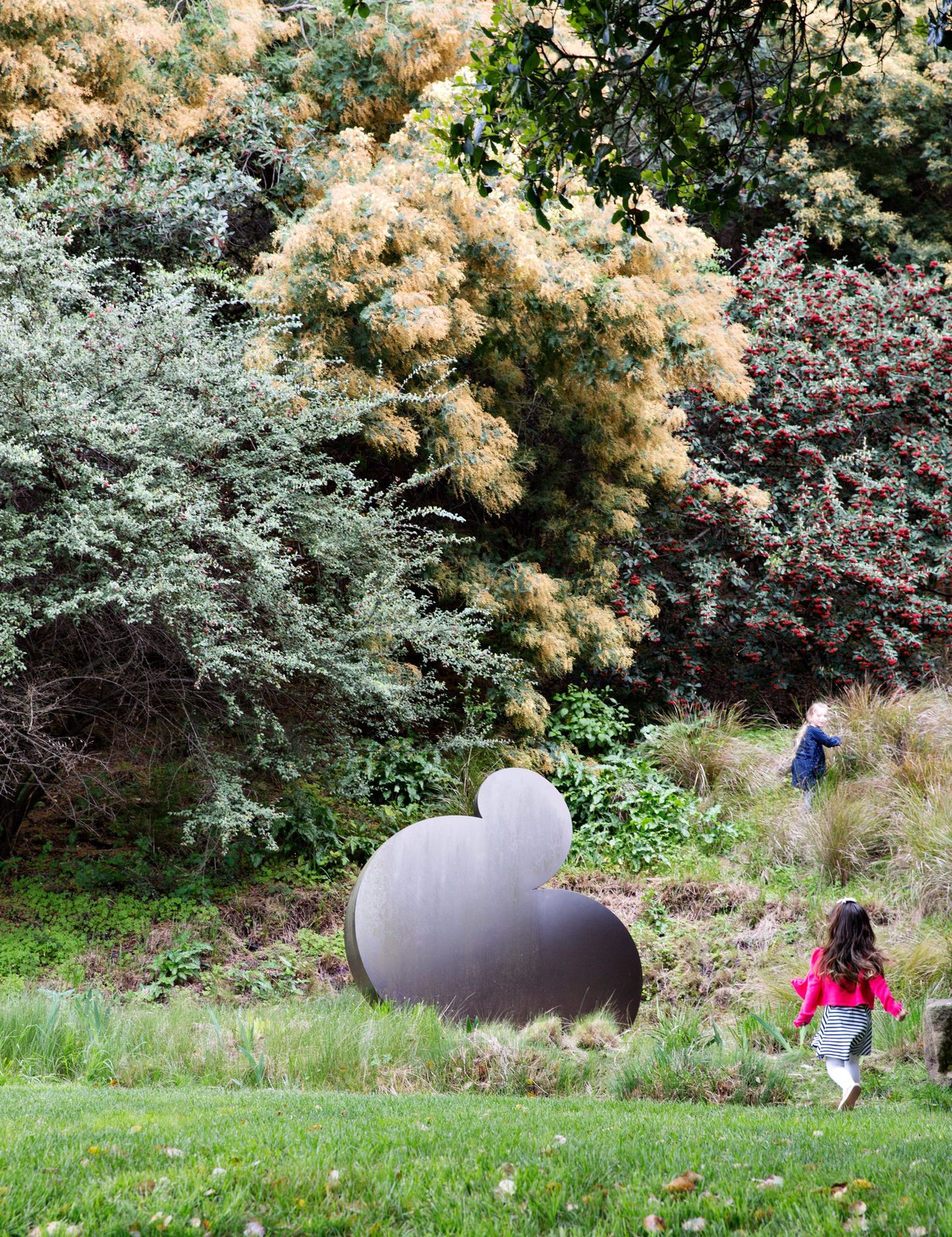 "Another important element to the overall design scheme is the incorporation of sculpture, intended to encourage interaction between the landscape and the art. Roundout, 2005, an aluminum piece by Travis Constance, is found amid native grasses, including feathery yellow Nassella tenuissima, which acts ""as a nest for the sculpture,"" says Wyllie. It is joined by a cotoneaster, a flowering plant with red berries, and a yellow-blooming acacia. This Endless Playscape Is Complete with a Bamboo Forest and Trampoline - Photo 10 of 11"