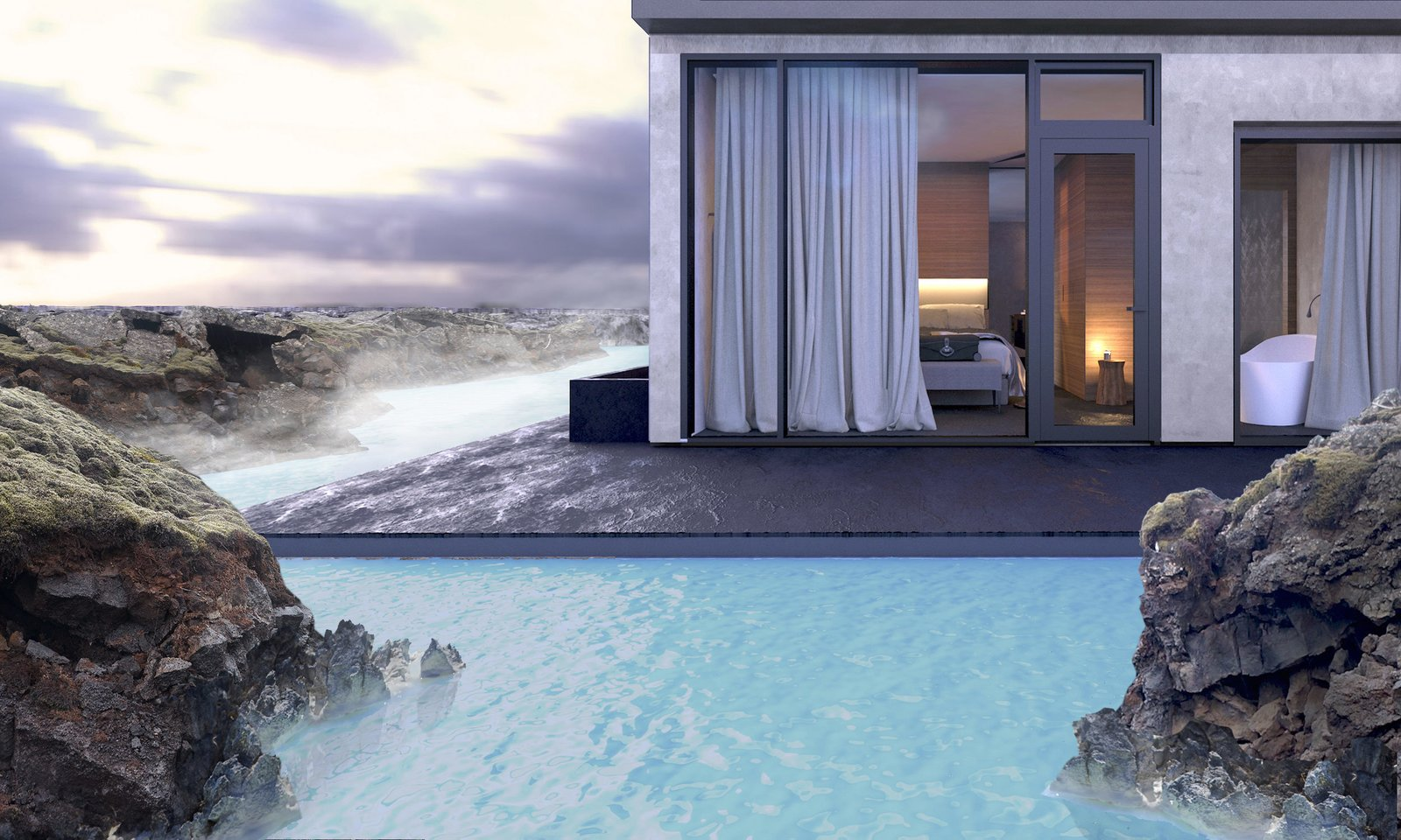 A rendering of the new accommodations illustrate the connection to the site.  Photo 4 of 5 in Dive Into the Next Phase of Iceland's Blue Lagoon