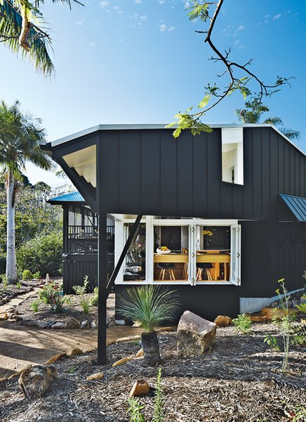 The kitchen addition is clad in James Hardie fiber-cement board.