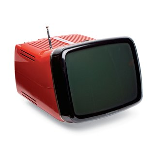 Remember When TVs Looked Like This? - Photo 3 of 5 - Algol 11 Television Unlike prior TVs, this bright plastic model from 1964, equipped with a collapsible metal handle, didn't feature a wooden frame. Marco Zanuso and Richard Sapper developed it for Brionvega, relying on miniaturized circuitry to achieve its compact size.