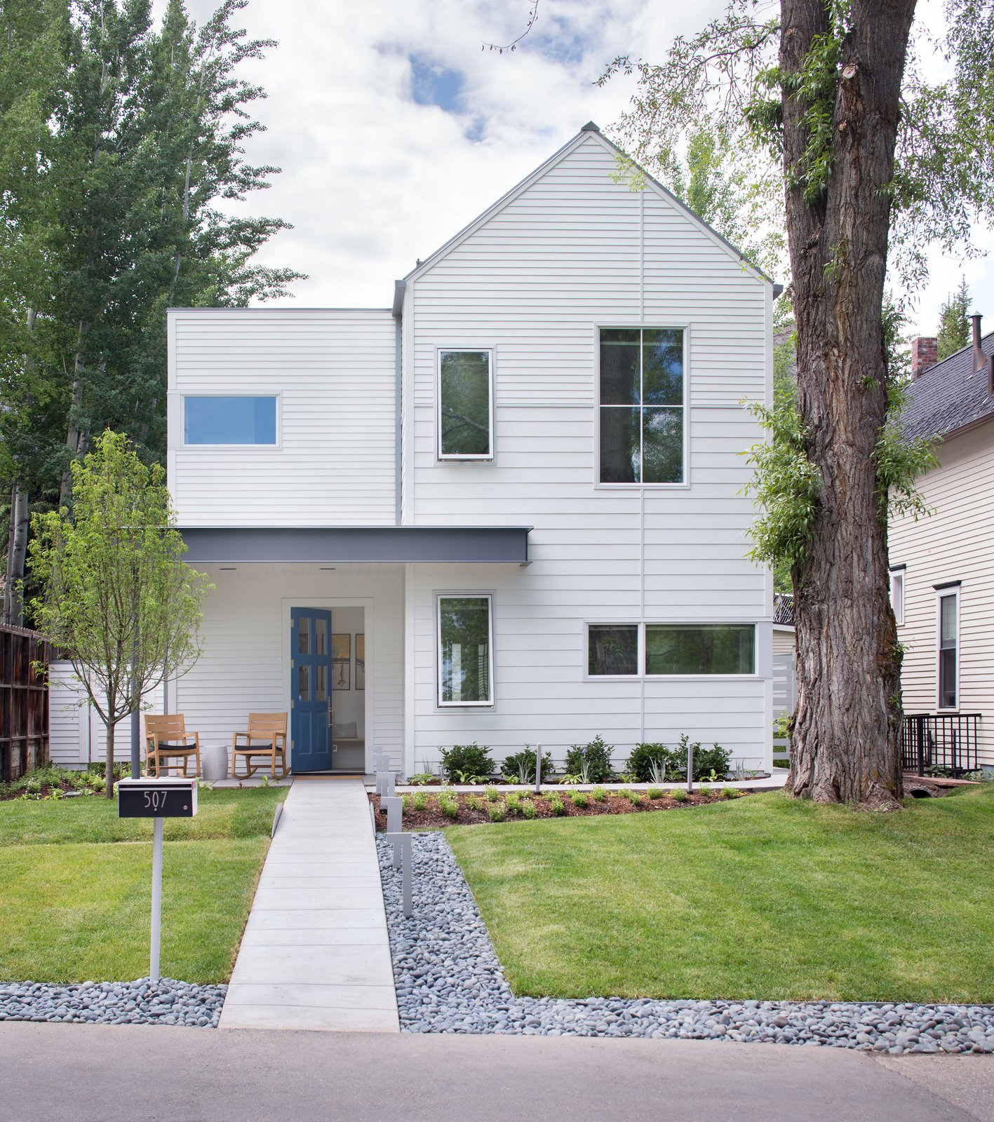 Located in a historic mining neighborhood, the house is a modern take on the 19th-century cabins that dot the area. Tagged: Exterior, House, and Gable RoofLine.  Photo 2 of 8 in How One Aspen House Lives Up to LEED