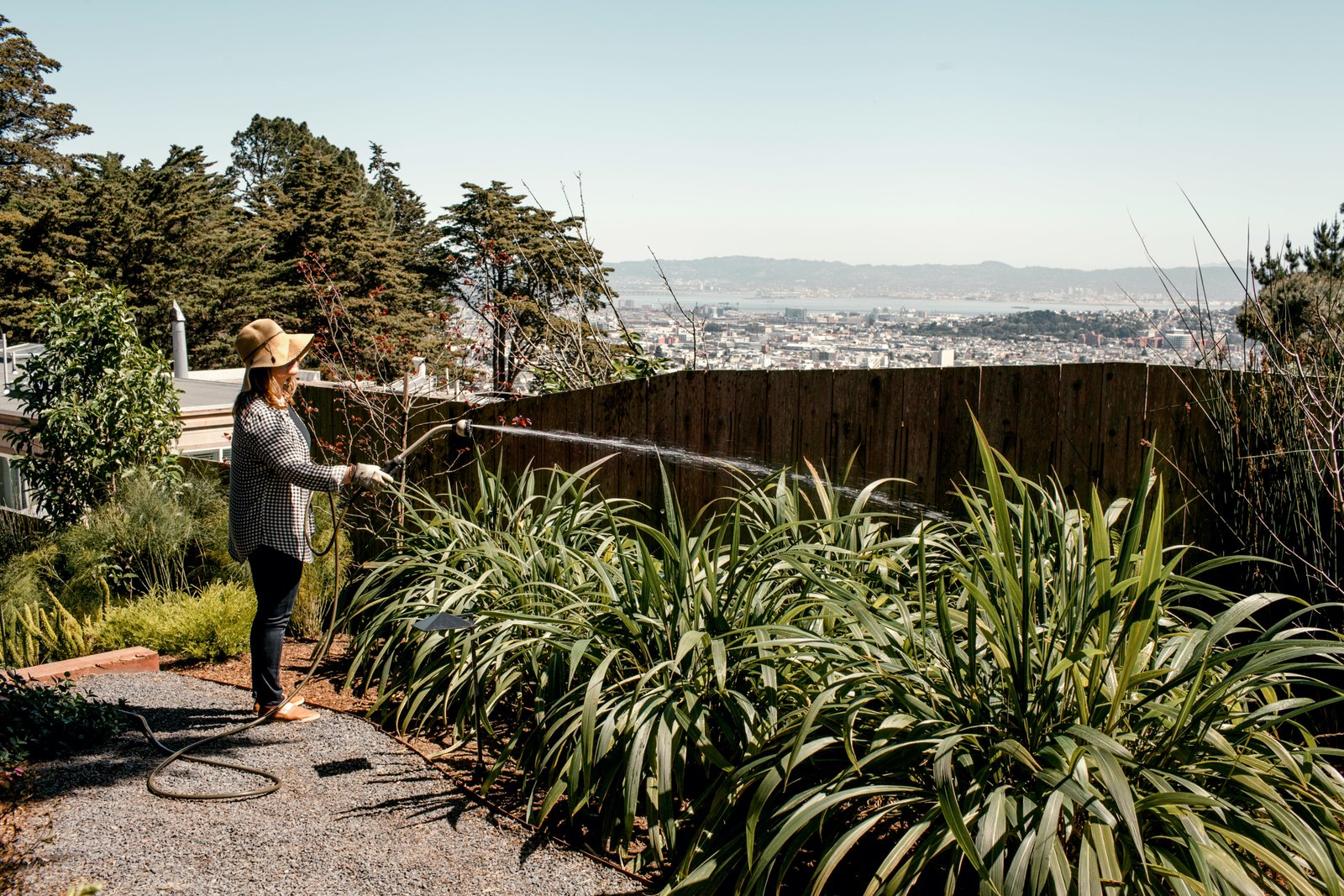 "The couple source ideas for their garden from their trips to Japan. Tagged: Outdoor, Side Yard, Back Yard, Front Yard, Trees, Hardscapes, and Gardens.  Photo 10 of 12 in Two Silicon Valley Vets Master the Smart Home Without Going Full ""Jetsons"""