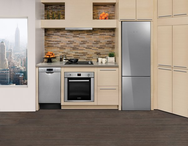 """Bosch's compact kitchen line, which includes an electric and gas cooktop, wall oven, and refrigerator, as well as an 18"""" dishwasher, is particularly well-suited for city apartments and secondary hangouts, like basements and guesthouses."""
