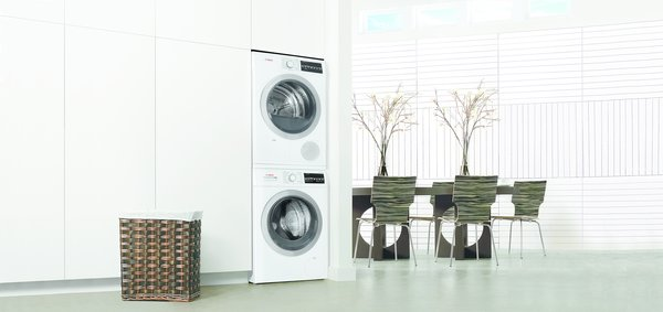 """Joining the kitchen line, Bosch recently unveiled an efficient 24"""" laundry pair. The units can be stacked vertically, further reducing their footprint in the home."""